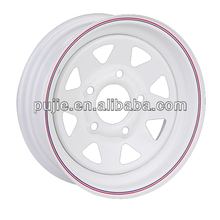 8 Spoke White Steel Wheels for Trailer