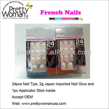 Europe Nail Art Elegant French Manicure 24pcs French Nail Tips with Professional Nail Glue Inside