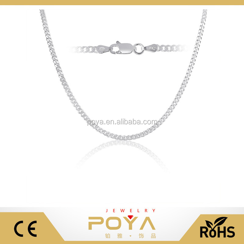 High Quality Neck Chain Designs 3mm Cuban Link Chain Necklace 925 Sterling Silver Mens Curb Chain