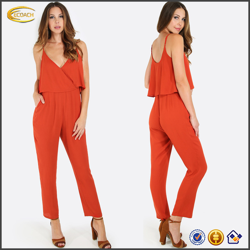 Ecoach fashion 2016 women orange Spaghetti Strap Sexy pattern jumpsuit overalls bodycon jumpsuit