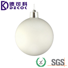 Huge Matte Winter White Shatterproof PE PS PP 12cm Christmas Ball With 1pc Marker Sliver Strings For Christmas Decoration