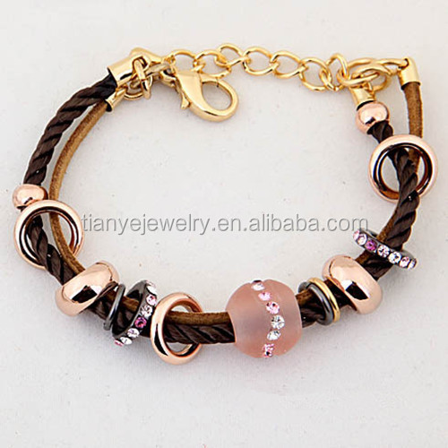 Europe Standard Zinc Alloy Woven Bracelet with Gemstone Resin Beads