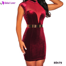 Wholesale bodycon midi dress sexy elegant party dresses woman velvet dress