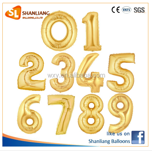 Hot Sale Wedding/Party Layout balloons ,40 Inch Gold 0-9 Number Foil balloon