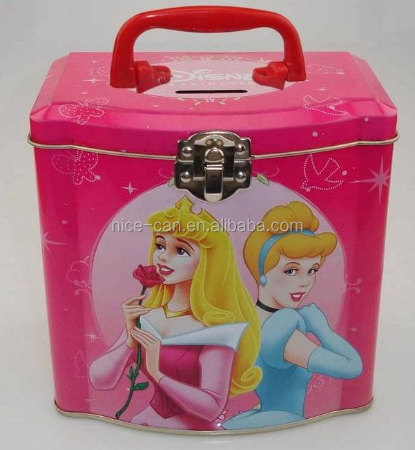Nice-Can Cartoon Design Hot-sale Tin Money Box with Lock and Key