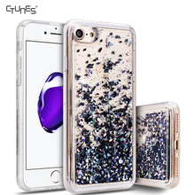 3D Liquid Floating Luxury Bling Sequins Shiny Sparkle Glitters Adorable Quicksand Hard Case TPU Bumper Frame For iPhone 7