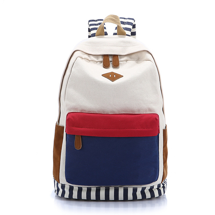 Fashion striped printing backpack laptop rucksack school bag for teens