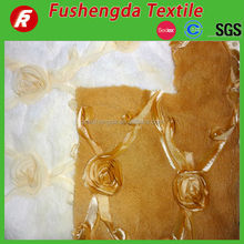 100%polyester ribbon rose embroidery plush fabric