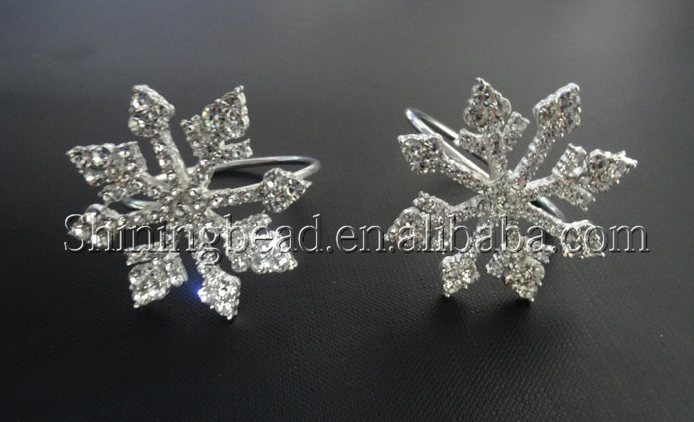 2016 snowflake clear rhinestone napkin ring for wedding