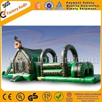 15m long inflatable army obstacle course with bouncy for racing games A5066