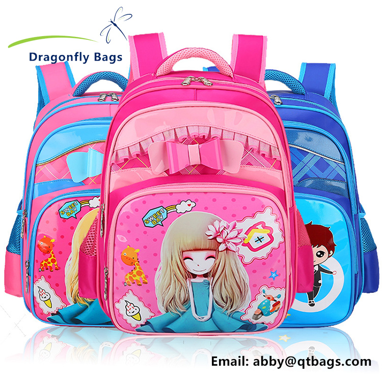 Cute style large capacity and light weight nylon primary schoolbag