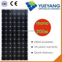 YYOPTO 100% TUV standard 200 W pv solar panel 200w mono for solar power system