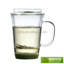 Handblown Heat-resistant Clear Glass Tea Infuser Cup With Handle And Lid