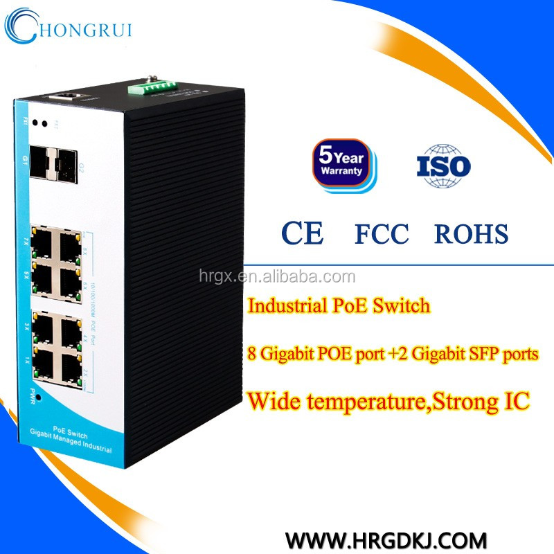 Factory Wholesale 8 port hub ethernet industrial with managed din rail power supply