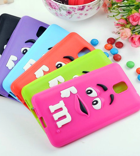 Cute cartoon 3D M&M Chocolate Bean Silicone Case For Samsung galaxy note 3 n9000,50pcs/lot