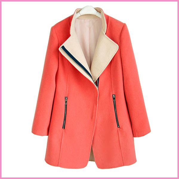 long design trench coat for ladies blazer coat,Korean style round neck contrast color coat