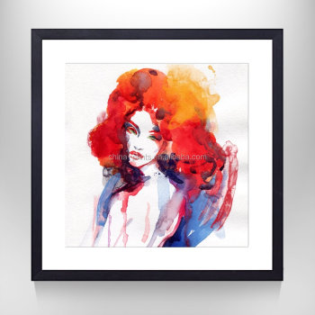 Gallery Wrapped Portrait Poster Painting Watercolor Sexy Girl for Living Room Floater Frame Ready Hanging On Wall