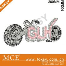 Cool motorcycle hot fix transfer motif, bling rhinestone transfer designs