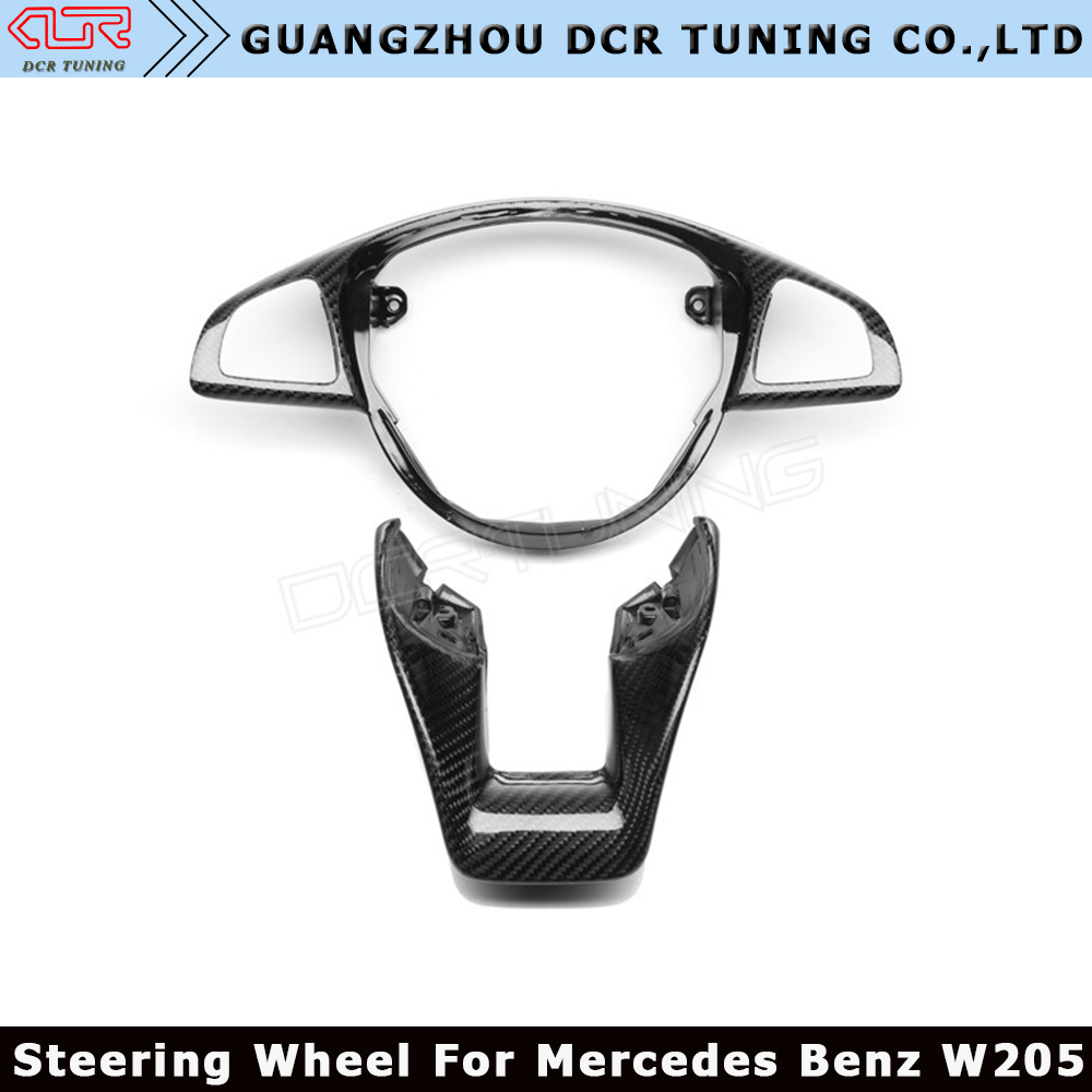 For Mercedes - Benz W205 C63 W176 A45 W213 E63 W117 C117 CLA45 CLS63 GLA45 AMG Carbon Fiber Steering Wheel Trim cover 2015+