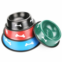 Pet Custom Non-slip Paint Iron Rubber Ring Stainless steel Wholesale Dog Bowl