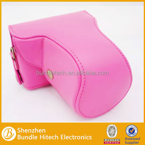 Alibaba Bundle Pink PU Leather Strip Camera Body Case Bag for Canon M2