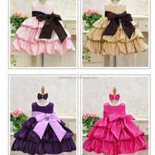 solid color girls over size bow layered dress Party wear girls dress