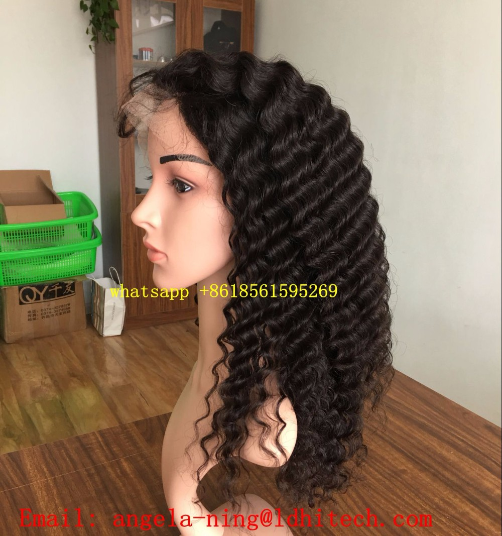 7a 8a grade natual color deep wave wholesale natural brazilian hair wigs natural hair line human hair wig lace front wig