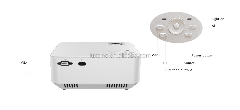 2016 Luxcine PTP200 Mini cheap LED home theatre projector,800*480,1000 lumens,2000:1