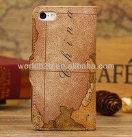For iPhone 5C Case, 2013 New Arrival Map Style Stand Leather Case for iPhone 5C inside with card slots