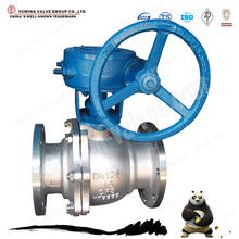 China manufactured wcb/stainless steel worm gear operated flanged ball valve