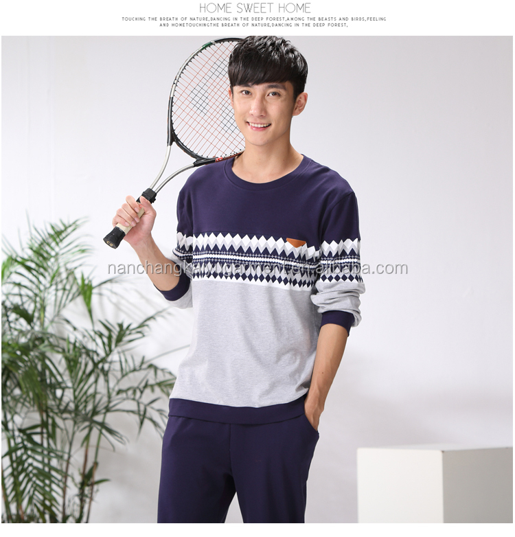 man pajamas cotton long sleeve / cotton youth men's leisure wear suits