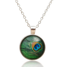 Necklace Silver Plated Green Peacock Feather Round Women Jewellery
