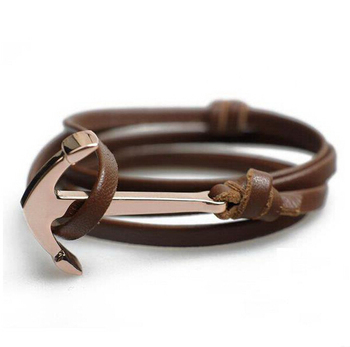 Custom logo brown leather bracelet rose gold anchor bracelet man bracelet wholesale