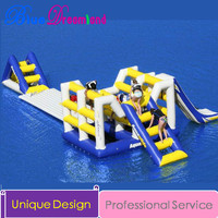 Multi color Outdoor Inflatable pool slide water park inflatable jumping trampoline