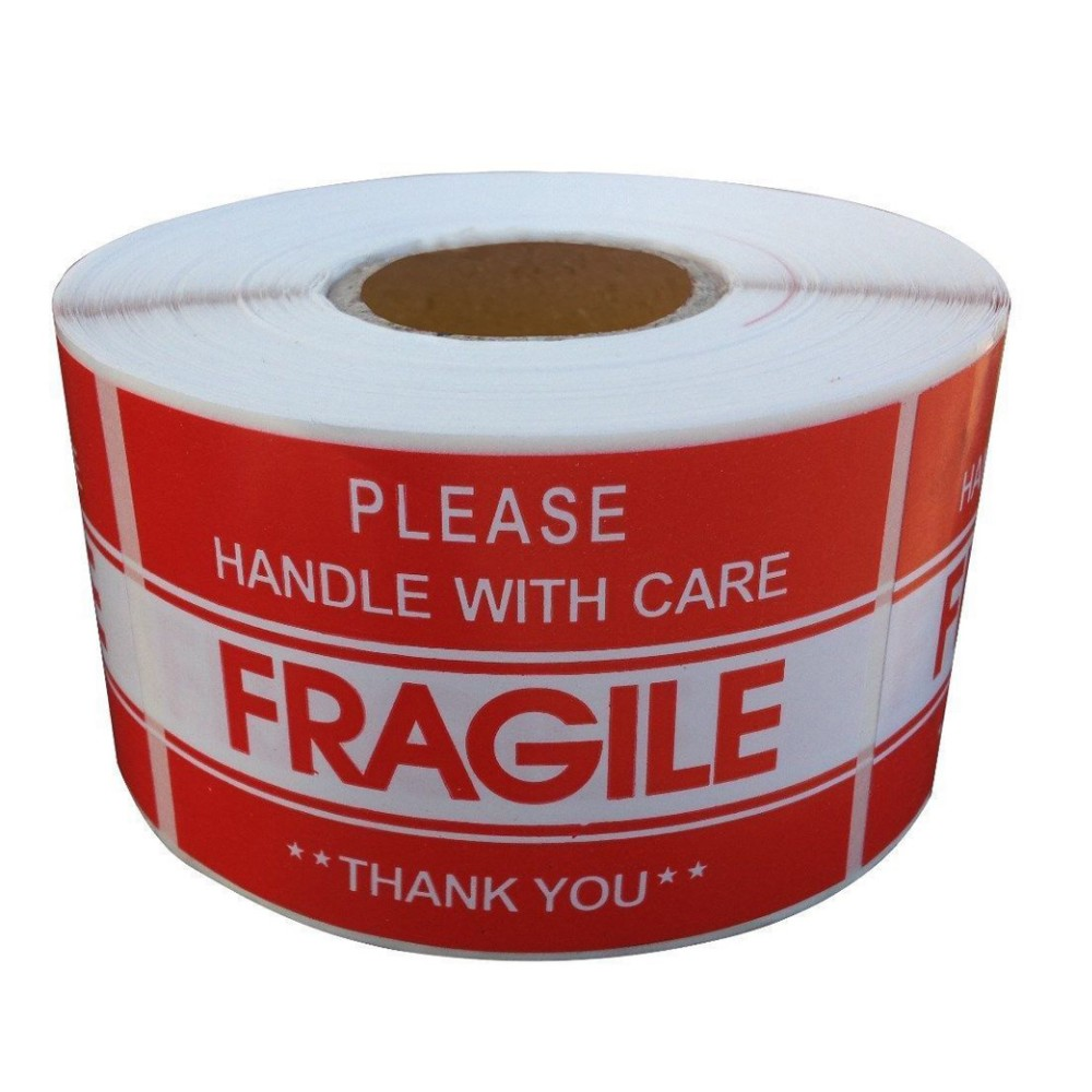 "3""x2"" x500 Self adhesive shipping warning fragile label sticker roll perfotated"