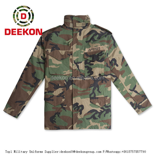 High Quality Chile Military Jacket, Army Jacket, Combat Woodland Camouflage M65 Jacket for Tactical Men