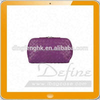 Travel purple leather medium cosmetic bag crafted in the woven pattern