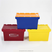 Super grade Heavy Duty Attached Lid Container / Lidded Plastic Storage Box