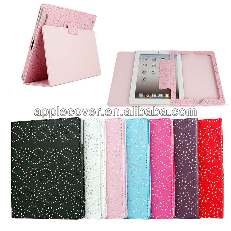 Wholesale Bling Bling Diamond Leather Case for Apple iPad 2/3/4 , for ipad2/3/4 cover case