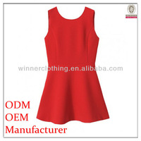 European design trendy sexy red low cut dress