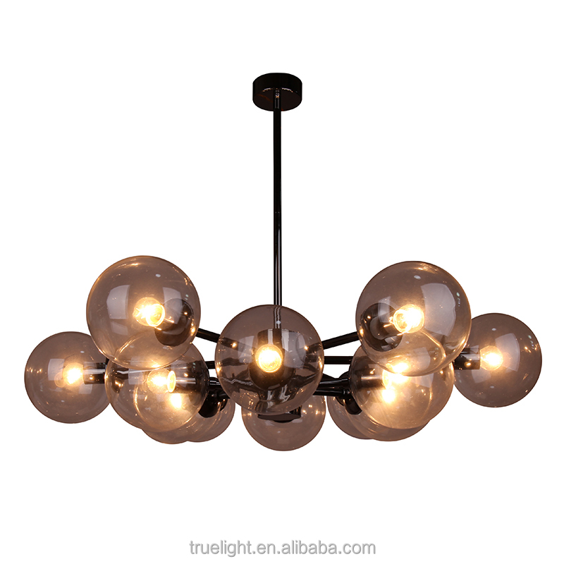 large pendant lamp with hand blown glass on chandelier
