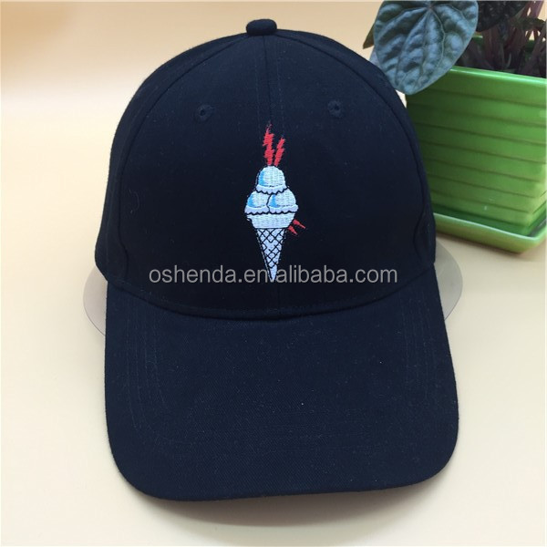 Promotional soft fitted ice cream embroidered size custom dad hat