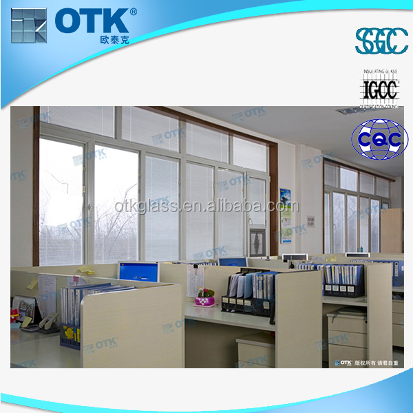 2015 high quality glass door with internal blind