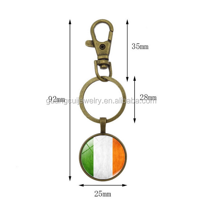 Ireland Travel souvenir Time Gem Cabochon flag keychain key chain