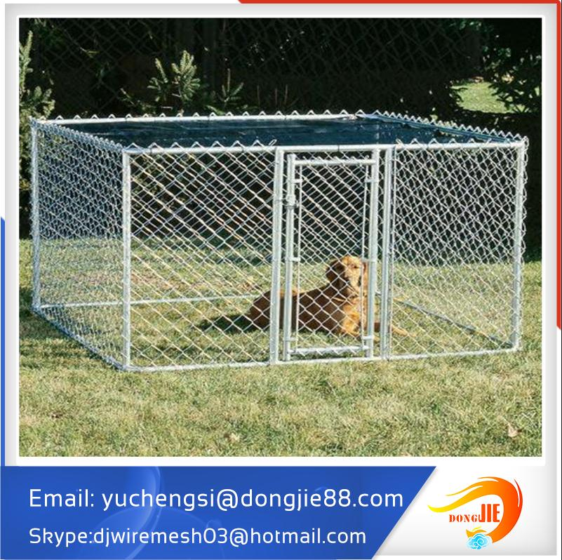 wholesale Large outdoor for two dogs Chain link Dog run kennel with cover cloth