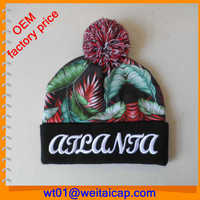 Cool Printing Knit Hat With Ball