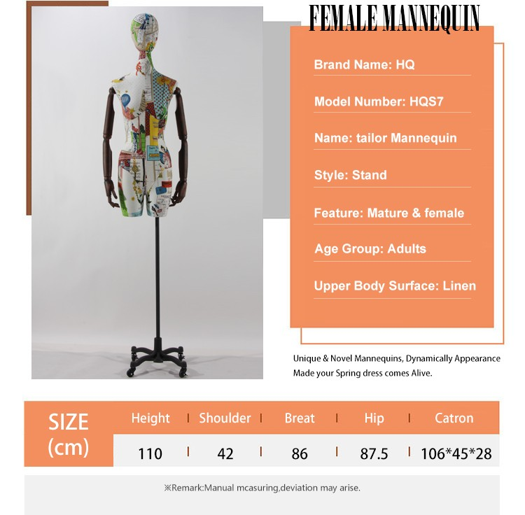 Female torso long neck adjustable tailoring mannequin