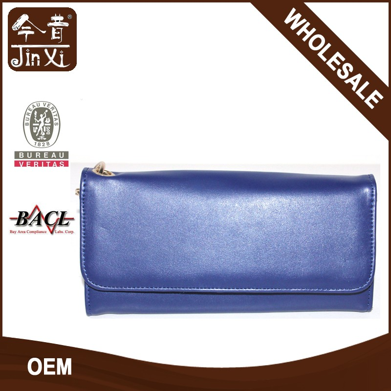 Trendy leather ladies evening Clutch Bag Card purse with chain