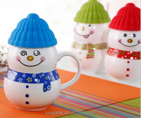 2019 Best selling New Design snowman lovely ceramic coffee mugs /Best ceramic coffee cup for lovers with silicone lid and spoon