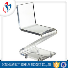 Z Shape Transparent Acrylic Chair For Salon Furniture With Casters